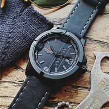 Męskie nowe zegarki luksusowa tarcza marki NAVIFORCE sport kwarcowy zegarek mężczyźni skóra wodoodporna data zegar analogowy mężczyzna Relogio Masculino tanie tanio 26cm Moda casual QUARTZ 3Bar Klamra CN (pochodzenie) ALLOY 12mm Hardlex Kwarcowe Zegarki Na Rękę Nie pakiet Skórzane