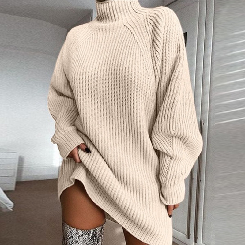 VITIANA Women Casual Oversized Sweater 2019 Autumn Winter Female Long Sleeve Turtleneck Loose Knitted Sweaters Dress Clothes