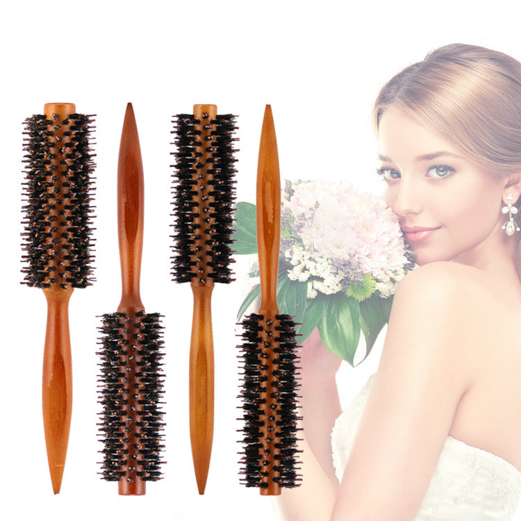 1 PCS 4 Size Wooden Hair Brush Anti-static High Temperature Resistant Round Barrel Comb Hairstyling Drying Curling Tool