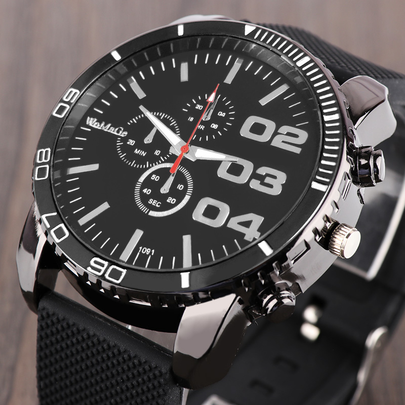WoMaGe Brand Fashion Quartz Men's Watch Hot Sale High Quality Watch Men Analog New Design Male Clock Silicone Band Watches Gift