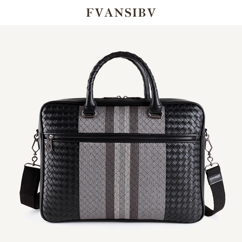 HandBag Men's Leather Luxury Brand Business Briefcase Leather Woven Bag Fashion Shoulder Bag ComputerBag Large Capacity 2020 New