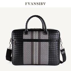 Handtasche männer Leder Luxus Marke Business Aktentasche Leder Gewebt Tasche Mode Schulter Tasche ComputerBag Große Kapazität 2020 Neue