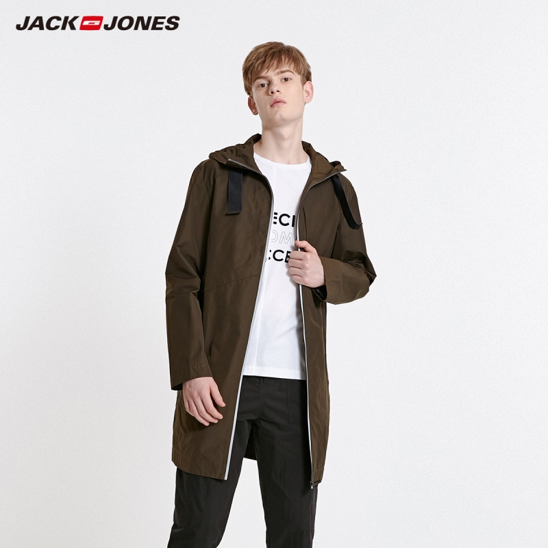 JackJones Men's Hooded Fashion Trench Coat Basic Jacket| 219121555