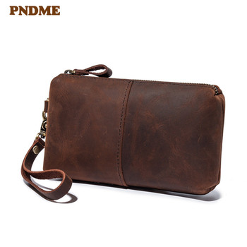 цена на Vintage genuine leather men's clutch bag high quality simple casual natural crazy horse cowhide women's  zipper phone wallet