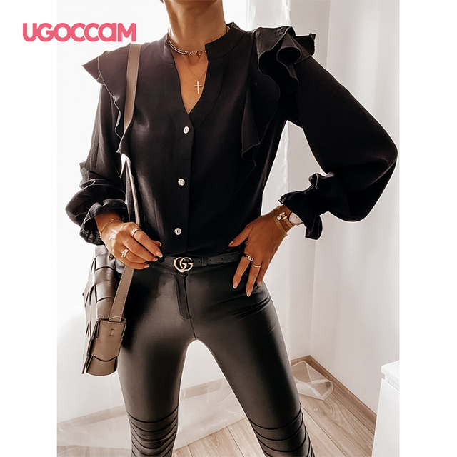 UGOCCAM Women Blouse Office Ladies Sexy Ruched Shirts Autumn Long Sleeve Elegant Casual Solid Shirts Tops Plus Size Tops Ropa Mu 4