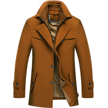 Mens Tweed Coat,Double Collar Padded Lapel Coat,Tweed Coat Men,Men Coats Cashmere Winter