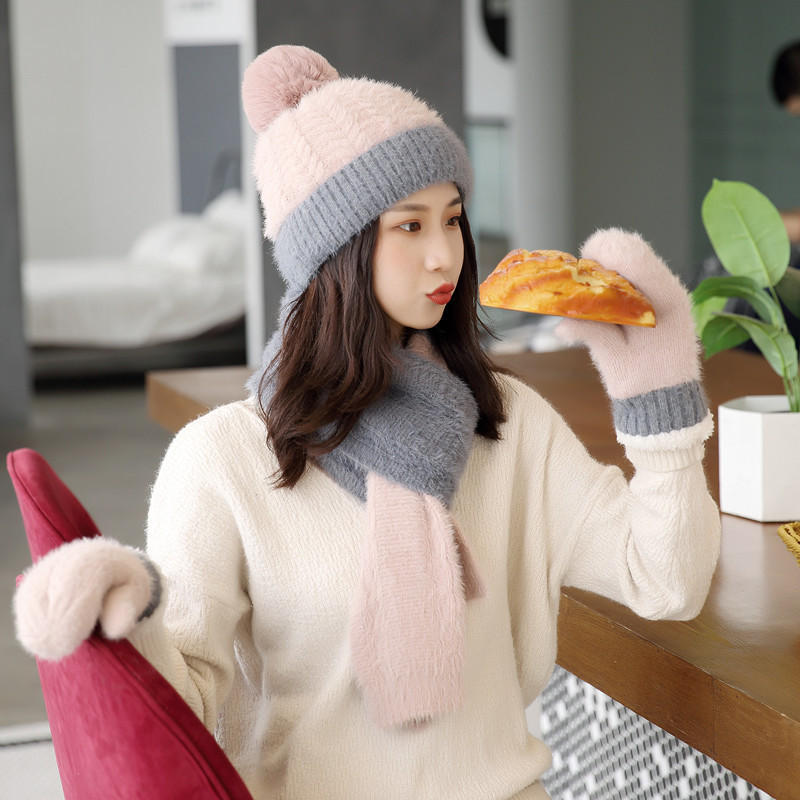 Scarf Hat Glove Set Women PomPon Beanies Knitted Skullies Hats Autumn Winter Warm Wool Acrylic Caps Unisex With Natural Fur