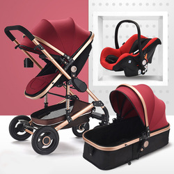 3 in 1 Multifunctional Baby Stroller Folding Carriage High Landscape Gold Red Baby Stroller Newborn Stroller Mother Assistant
