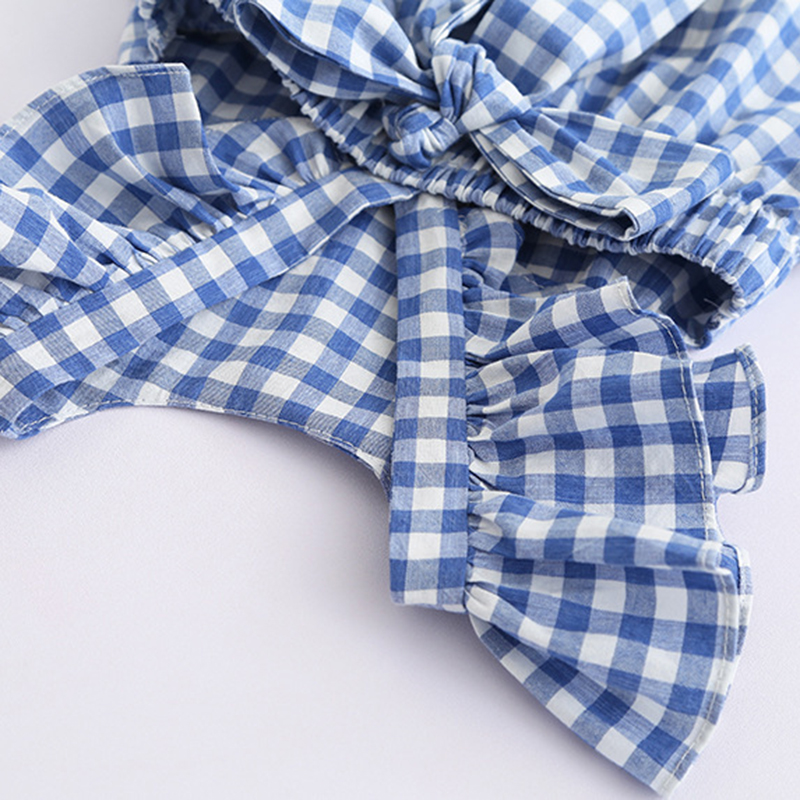 2021 New Summer Flying sleeve Plaid Baby Girl Clothes Ruffles Backless Children Dress Leisure Lovely Baby Dress Kids Clothing 5