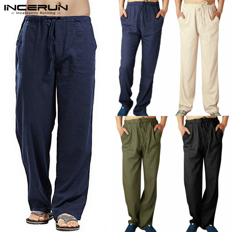 INCERUN Men Casual Pants Elastic Waist Solid Color Retro Loose Straight Trousers Joggers Workout Sweatpants Men Streetwear 2020