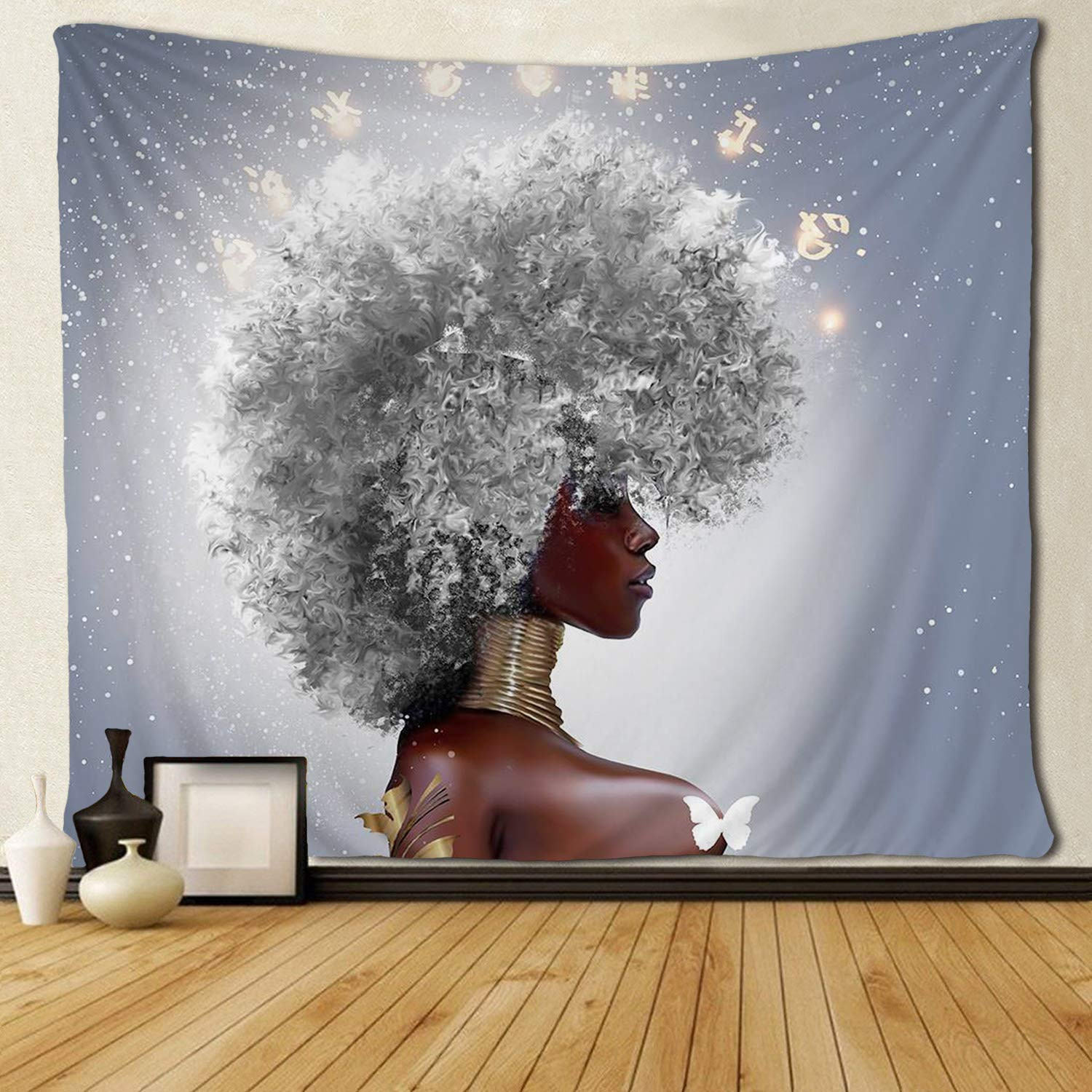 African Women Afro With White Hair Tapestries Hippie Art Wall Hanging For Bedroom Living Room Dorm Room