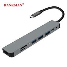 Rankman tipo c para hdmi-compatível 4k usb c 3.0 sd tf leitor de cartão adaptador para macbook samsung dex xiaomi 10 projetor tv monitor
