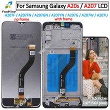Do Samsung Galaxy A20s A207 wyświetlacz LCD z ekranem dotykowym digitizer z montażem ramy części zamienne do Samsung A20s lcd