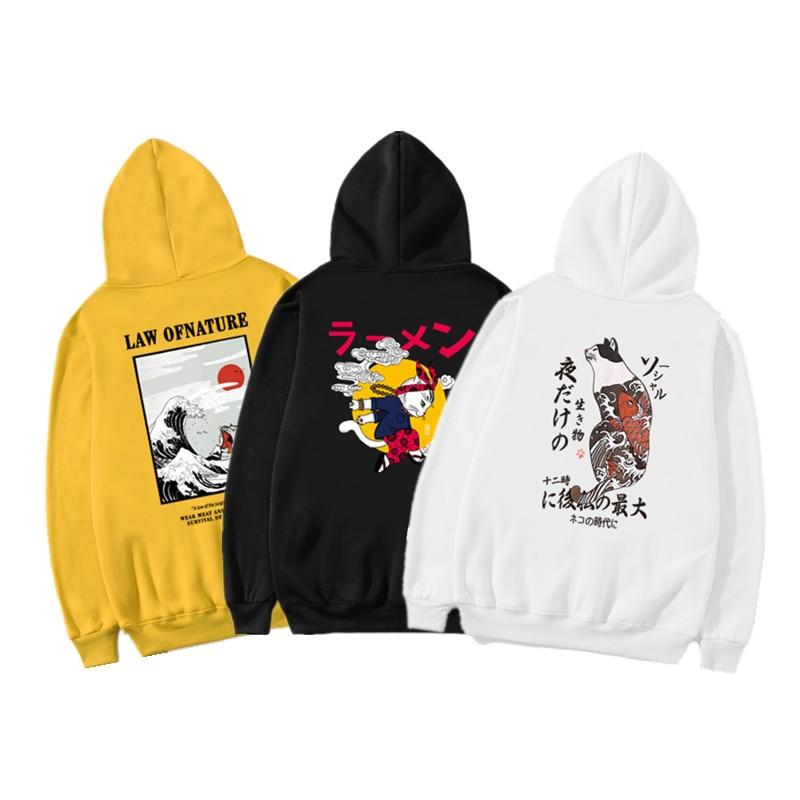 2019 Fashion Cat Color Hooides Men's Thick Clothes Winter Sweatshirts Men Japan Hip Hop Streetwear Fleece Hoody Man Clothing