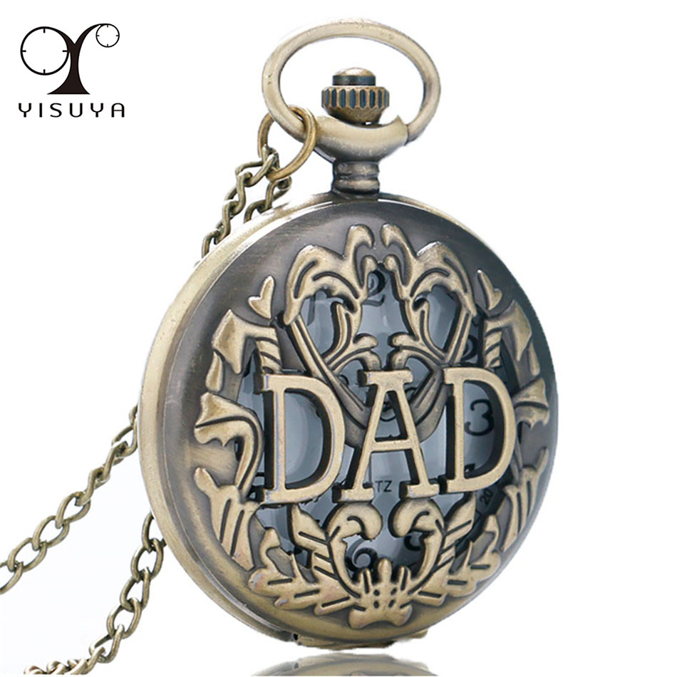 Hollow DAD Bronze Necklace Pocket Watch Quartz Movement  Retro Pendant Clock Gifts For Father's Day Birthday Present Watches