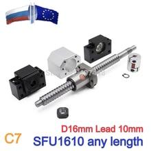 Ru es 1szt 16mm ołów 10MM śruba pociągowa 1610 walcowana śruba kulowa SFU1610 z pojedynczym kuleczką + 1 zestaw BKBF/EKEF/FKFF12 wspornik końcowy