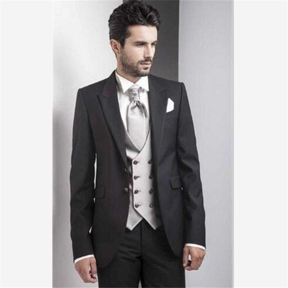 Black Italy Men Suit With Double Breasted Vest Elegant Best Man Wedding Tuxedos Party Men's Suits 3 Piece (Jacket+Pants+Vest) Co