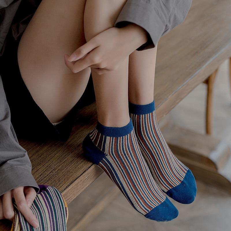 Fashion Women Socks 2020 New Retro Ankle Socks Striped Color Cotton Sock Female High Quality Vintage Style Short  Socks Woman