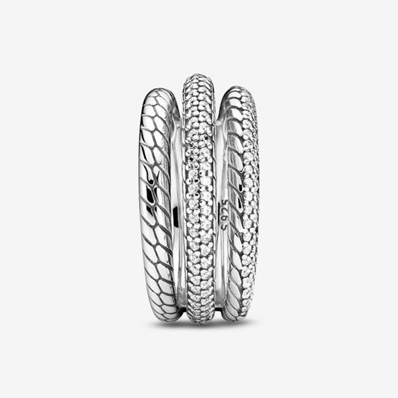 Bague d'automne pour femmes, en argent Sterling 925, Triple bande, Pavé, motif serpent, marque originale, bijoux cadeau, nouvelle collection 2020 2