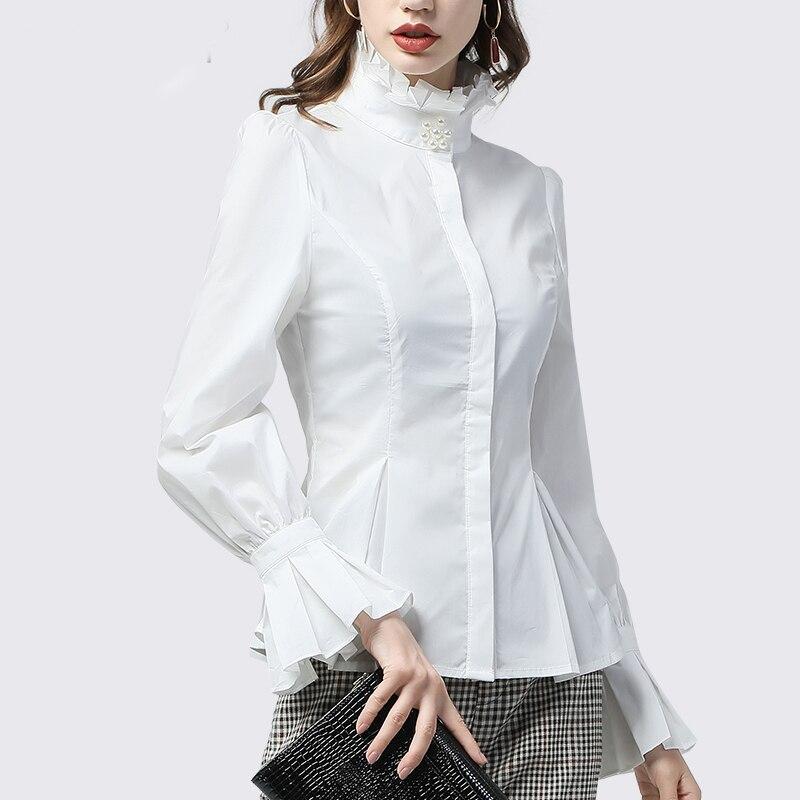 Bureau dames chemise blanche col roulé à volants haut en coton perles perlées évasées à manches longues grande taille élégant Slim travail porter des chemises