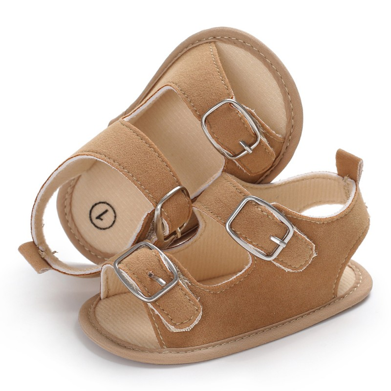 Summer Baby Boys Girls Sandals Toddler Solid Color Slip-On Shoes Baby PU Leather Sandals 0-18Months