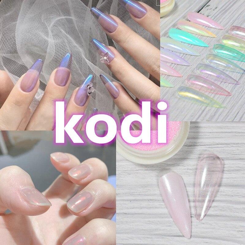 Kodi Аврора порошок ногтей искусство блестки зеркало с эффектом русалки хром пигмент УФ-Гель-лак Shimmer Dip пыли Сделай Сам ногти украсить