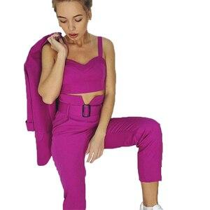 Image 4 - TAOVK Women Suits Female Pant Suits Office Lady Formal Business Set Uniform Work Wear Blazers Camis Tops and Pant 3 Pieces Set