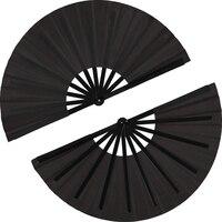 2 peças grande dobrável ventilador de pano de náilon handheld dobrável fã chinês kung fu tai chi fã preto decoração dobra fã de mão para festa|Leques decorativos| |  -