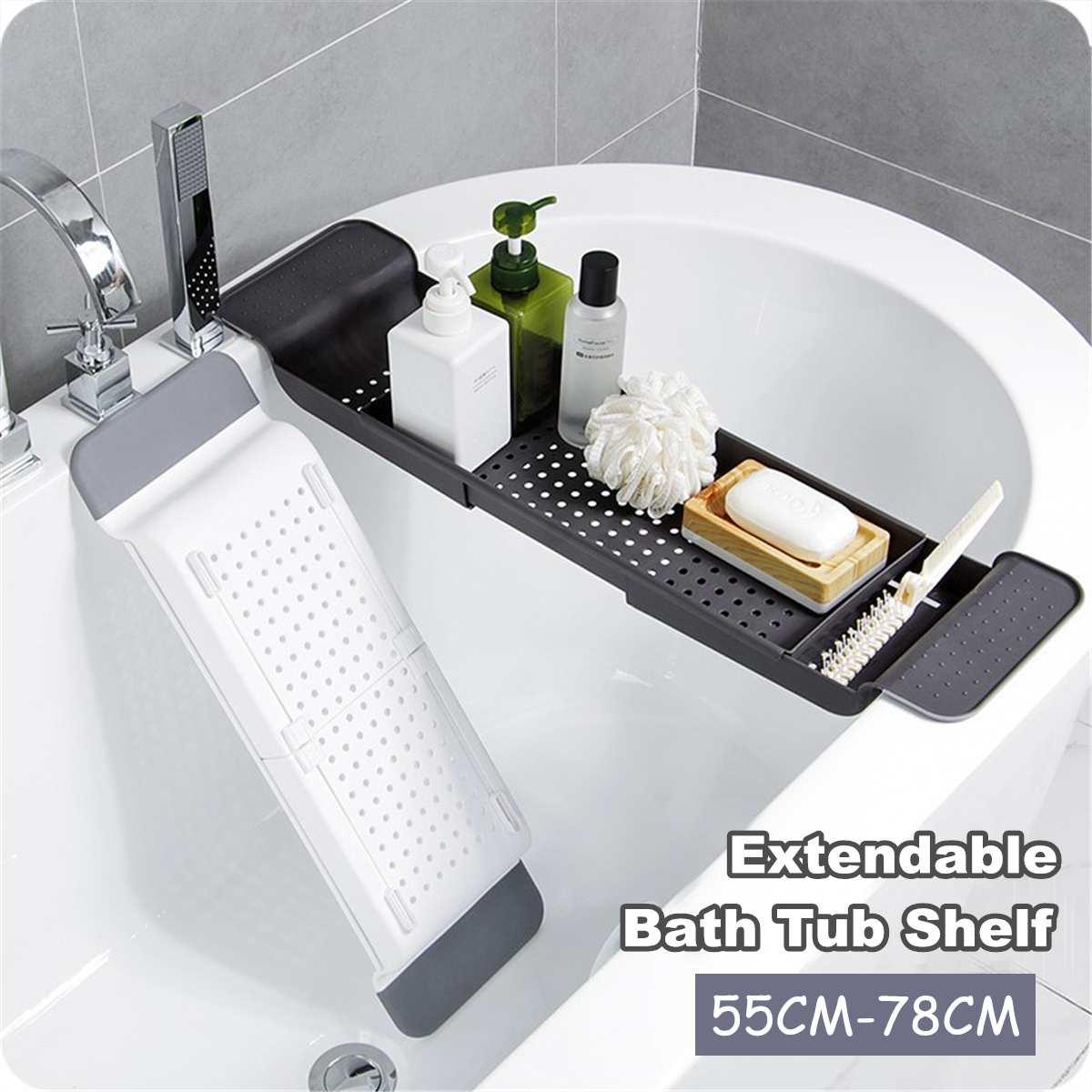 Bathtub Holder Phone Drain Racks Multi-function Expanding Bathroom Shelf Bathtub Trays Retractable Bathroom Storage Shelves