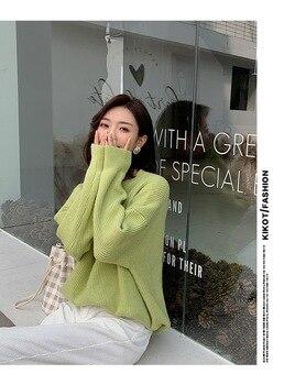 2020 WOMENRound neck bottoming suéter mujeres nuevo estilo era delgada pit stripe burbuja manga suelta suéter camisa mujeres