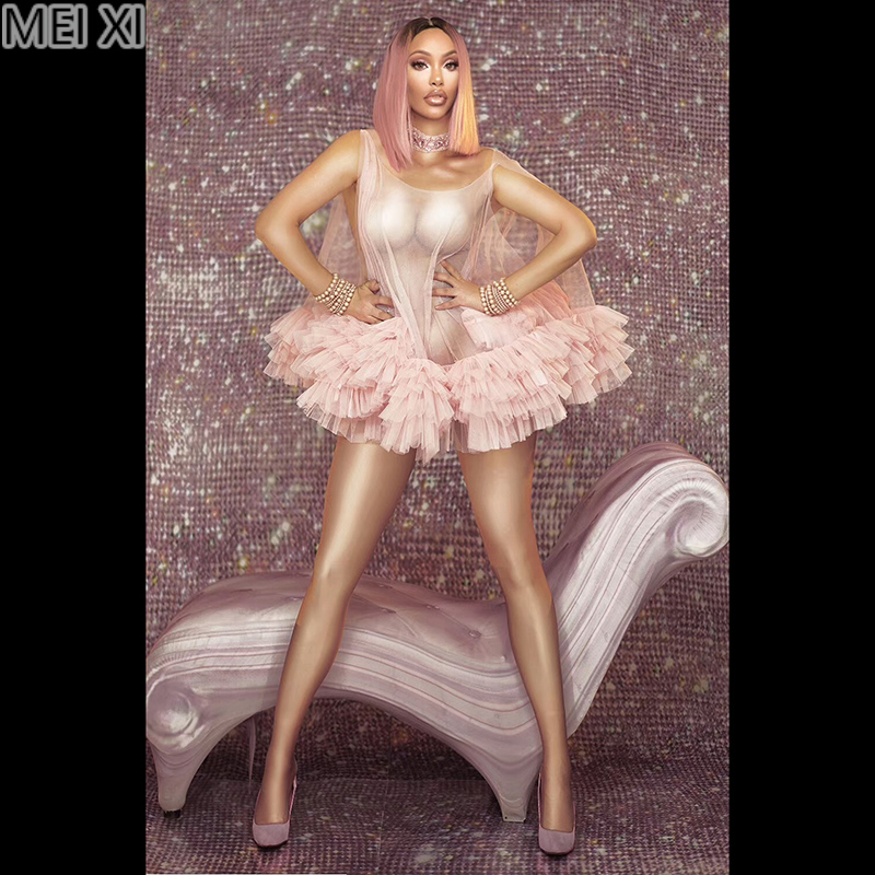 See-through Pink Lace Skirt Mesh Dress Nightclub Bar Concert DJ Singer/dancer Costume