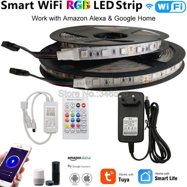 Bande lumineuse RGB LED intelligente Tuya, wi fi, 12V, 5050, 60 diodes/m, 5m, 10m, compatible avec Alexa et Google Assistant et télécommande vocale