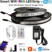 Tuya חכם WiFi LED רצועת אור RGB LED רצועת 12V 5050 60 נוריות/m 5m 10m סט עבודה עם Alexa גוגל עוזר קול שלט רחוק