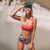 Traje De baño con estampado De un solo color para mujer, Bikini Sexy ajustado, conjunto De Traje De baño con cintura alta, Traje De baño sin espalda, ropa De playa, Traje De baño
