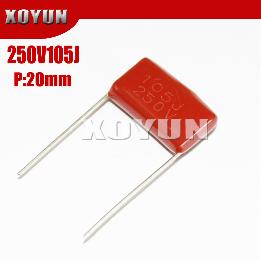 10pcs/lot CBB 250V105J 1UF Pitch 20MM 105J 250V CBB Polypropylene Film Capacitor