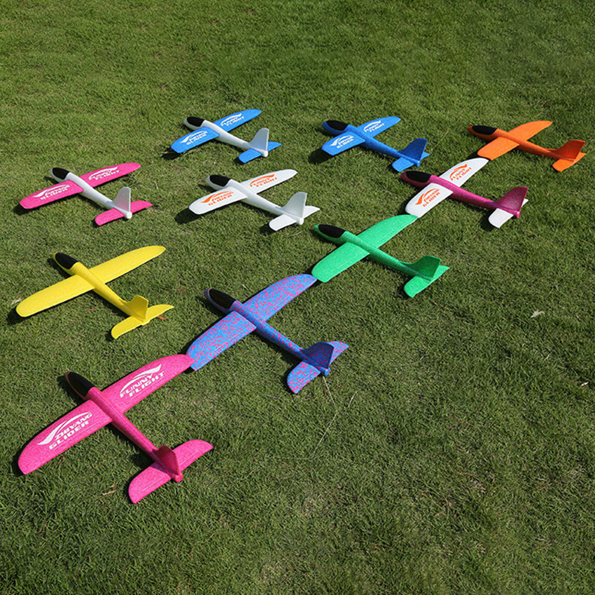 48CM Hand Throw Foam Plane Toys Outdoor Launch Glider Airplane Kids Gift Toy Free Fly Plane Toys Puzzle Model