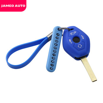 Silicone Car Key Case Cover Key Chain with Phone Number for BMW X3 X5 Z3 Z4 3 5 7 SERIES E38 E39 E46 E83 1998-2005 image