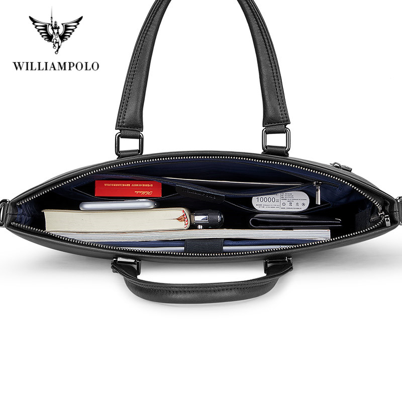Men's Genuine Leather Briefcase Business Laptop Handbags Male Crossbody Shoulder Bag Cow Leather Notebook Briefcases