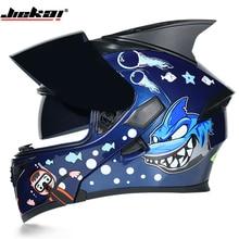 JIEKAI Motorcycle Helmet with Personality Horn/tail Motorbike Motocross BIG SHAR