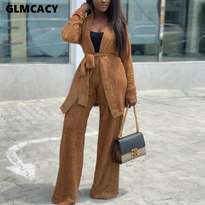 Women 2 Pieces Outfits Autumn Woolen  Brown Sashes Cardigans And Fuzzy Wide Leg Long Pants Set Chic Streetwear Workwear