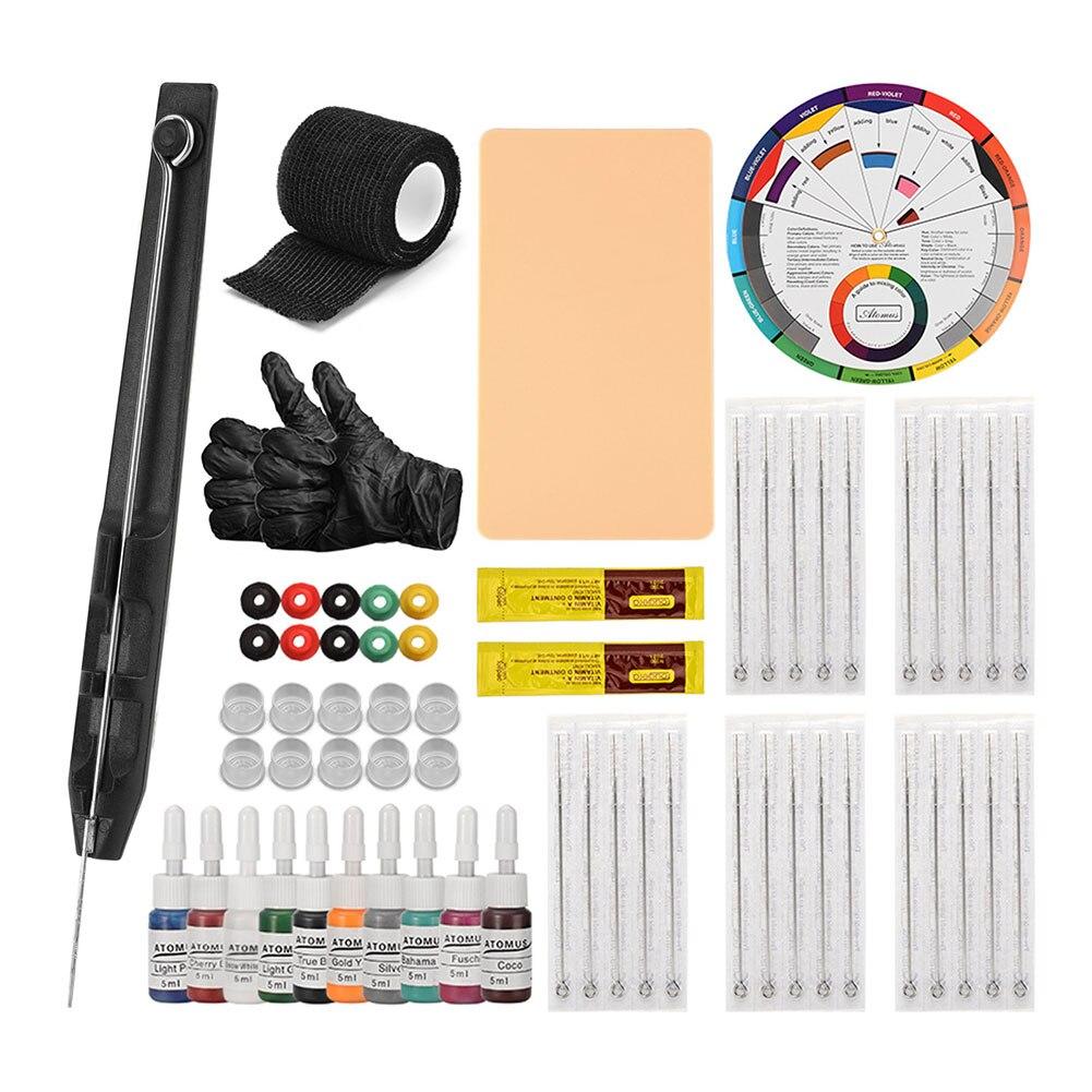Tattoo Kit Tattoo Needles Set Hand Poke Stick Tattoo Supplies Kit Practice Beginner Skin 1 3 5 7 9RL Supply Needle For Artist