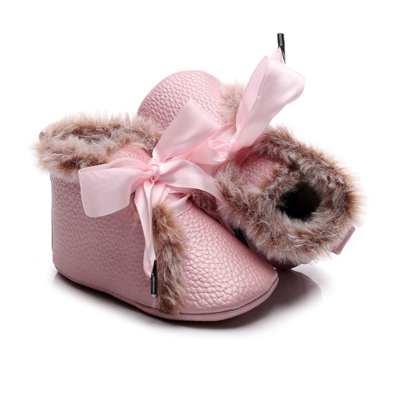Lovely Baby Girl Shoes 0-24M PU High-tops Sneaker Anti-slip With Velvet Winter Warm Shoes Baby Toddler Girls Crib Shoes