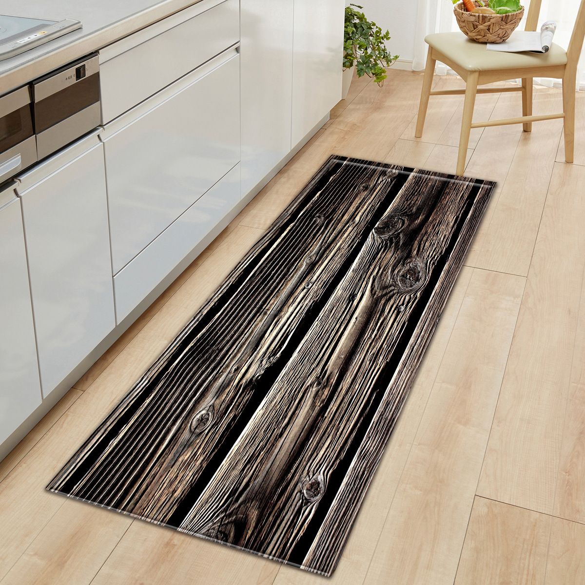 12 Styles Anti-slip Modern Kitchen Rugs Wood Grain Pattern Floor Carpet For Living Room Washable Doormat Bedroom Mat Home Decor
