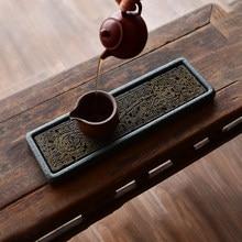 Rectangular Stone Tea-Tray Separable Natural Volcanic Rock Plate Kung Fu Tea Set Room Home Decoration Table Office Decor