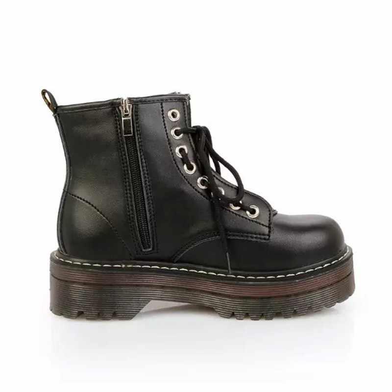 QWEDF Fashion Zipper Flache Schuhe Frau High Heel Plattform PU Leder Stiefel Lace up Frauen Schuhe Stiefeletten Mädchen SY-39