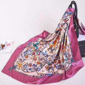 Image 3 - Silk Scarf Women Print hair neck Square Scarves Office Ladies Shawl Bandanna 90*90cm Muslim Hijab Handkerchief muffler foulard