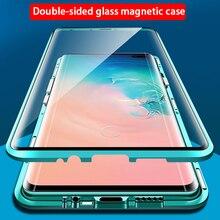 360 حافظة ممتص مغناطيسي من الزجاج المقسى لهواتف سامسونج جالاكسي S20 Ultra S 20 S10e S10 نوت 10 Plus نوت 10 A51 A71 S20