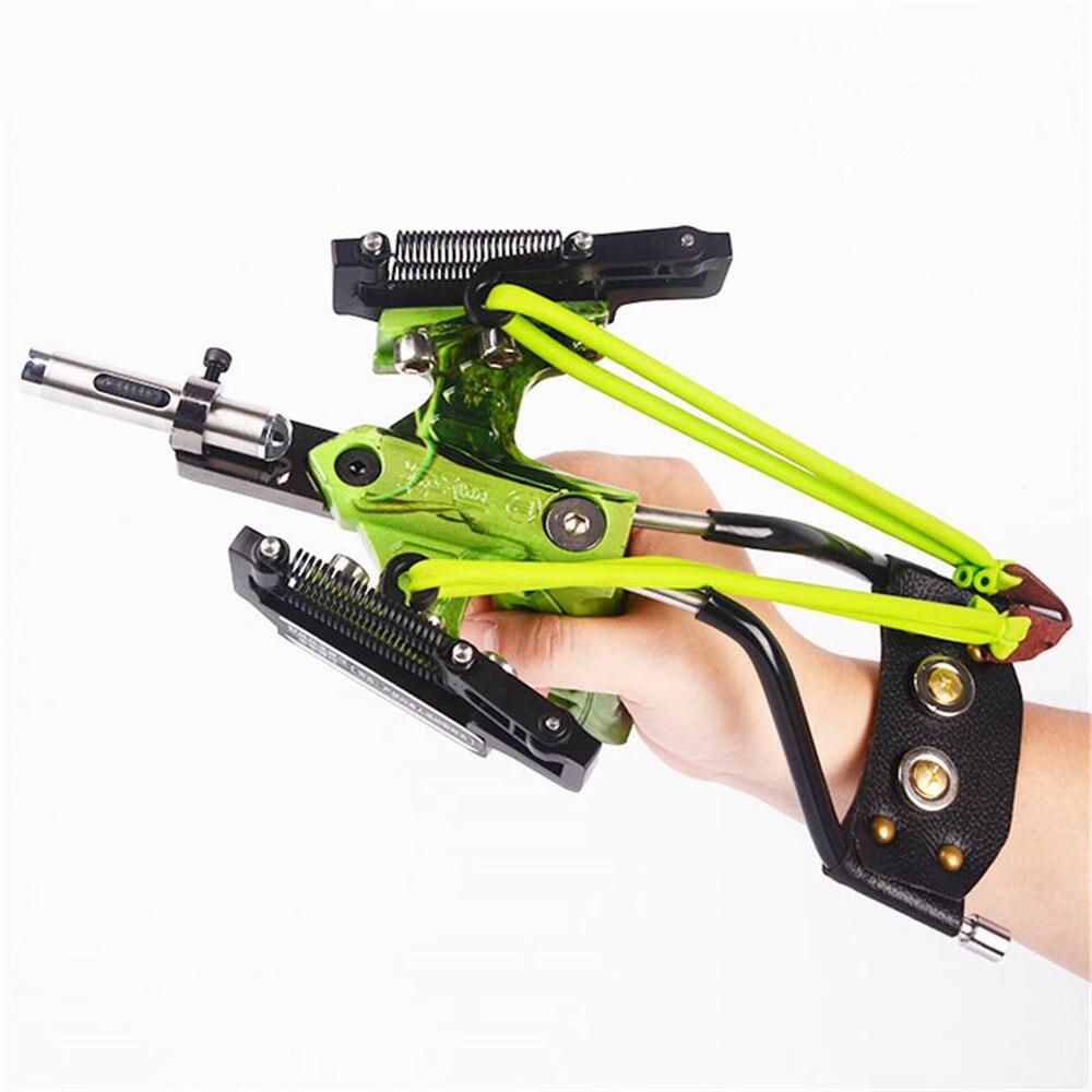 강력한 사냥 낚시 레이저 Slingshot 스테인레스 스틸 slingshot 전문 투석기 고무 밴드와 강력한 슬링 샷