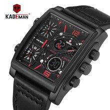 KADEMAN Luxury Square Men Watch Dual Display Digital Wristwatches Military Sport Man Watches TOP Brand 2019New Relogio Masculino