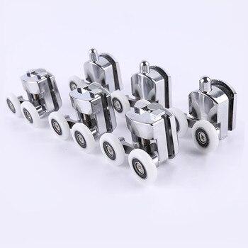 8pcs 23mm/25mm/27mm Shower Door Rollers Zinc Alloy Double-Wheel Sliding Shower Door Roller Bearing Wheel Runners Replacement